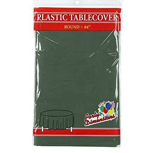 """Hunter Green Round Plastic Tablecloth - 4 Pack - Premium Quality Disposable Party Table Covers for Parties and Events - 84"""" - By Party (Hunter Green Plastic Table)"""