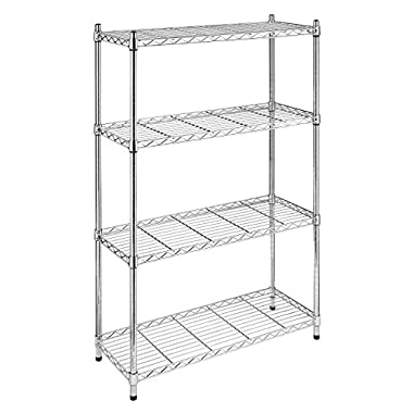 Whitmor 6060-322 Supreme 4-Tier Shelving Unit, Chrome