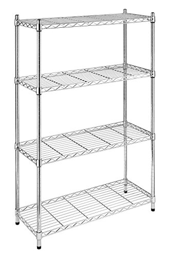 Whitmor Supreme 4-Tier Shelving with Adjustable Shelves and Leveling Feet Chrome (Kitchen Metal Rack)