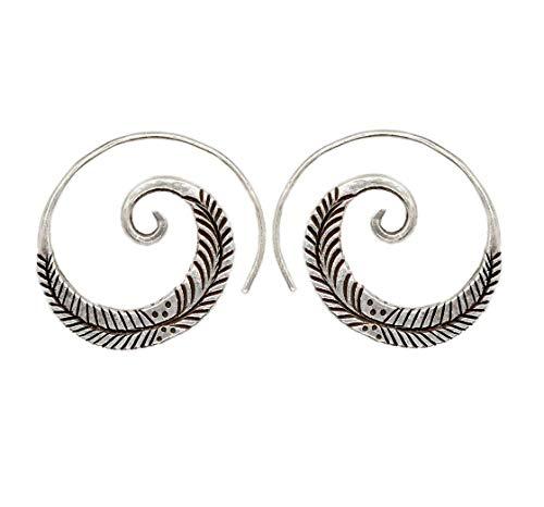 Sterling Silver Boho Tribal Spiral Hoop Earrings, Feather Branch Engraved,
