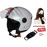 JMD HELMETS Grand Open Face Helmet with Anti Pollution Mask (Grey, Large)