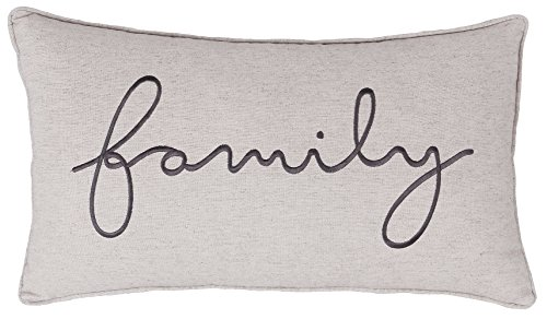 DecorHouzz Family Sentiment Pillow covers Farmhouse Embroidered Throw Pillowcase for Housewarming Wedding Anniversary Couple Gift for Christmas He and She (14X24, Family(Linen))