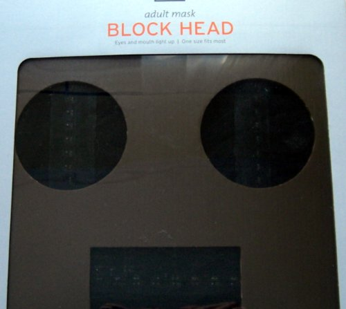 [Block Head--Adult Mask--Eyes and Mouth light up--one size (Brown)] (Adult Minecraft Costumes)