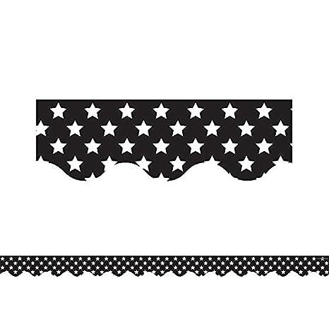 5812 Teacher Created Resources Black with White Stars Scalloped Border Trim