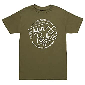 Twin Peaks Welcome to Twin Peaks Adult T-shirt - Military Green (Small)