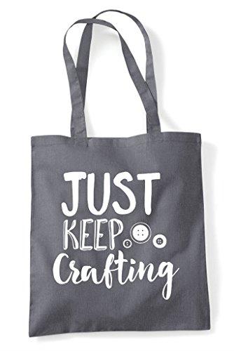 Tote Grey Dark Statement Keep Bag Shopper Crafty Crafting Just I1Zx8Bq