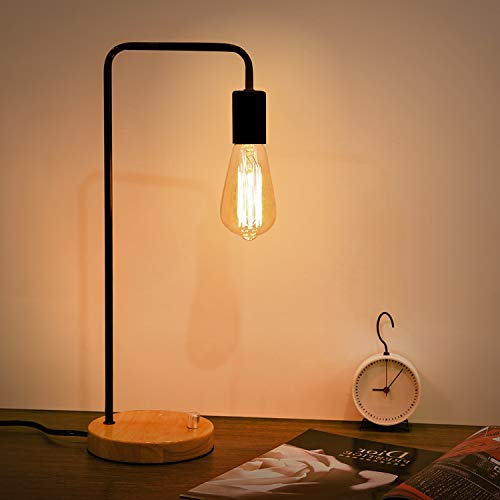 Kohree Industrial Table Lamp Bedside Lamp, Dimmable Vintage Edison Bulb Lamp Wooden Bedside Night Stand Modern Desk Lamp for Bedroom Without Bulb , Black