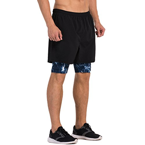 Men's 2 in 1 Training Woven Shorts with Compression Lining Black Blue Camo Large = US Size Medium