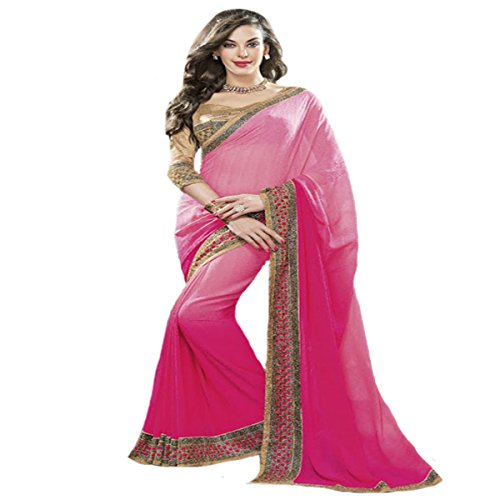 Pink Party wear Saree Sari Ceremony Collection Gown Blouse Petticoat by SHRI BALAJI SILK & COTTON SAREE EMPORIUM
