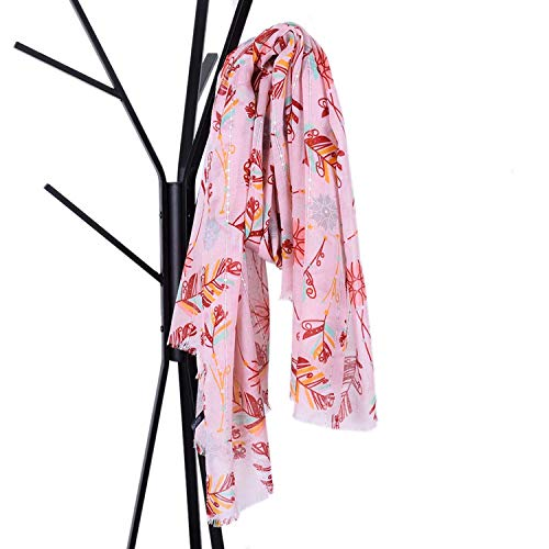 Grossartigus Scarf New Large Format Sequins Balinese Yarn Pumping Scarf Feather Print Elegant Big Size Shawl Four Seasons Multi Function Women's Oriented (Color : Pink)