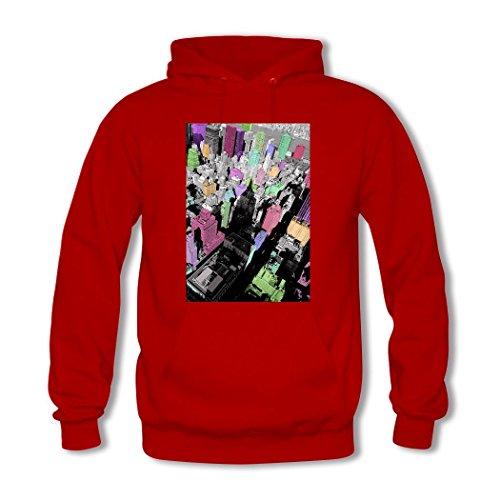 2 State Printed Women's Red Hoodie Building Empire Custom Hkdiy vqwzx8n