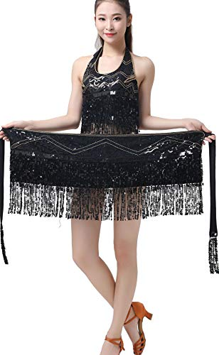 ZLTdream Lady's Belly Dance Halloween Costume Straps Bra Top with Chest & Hip Scarf with Fringe Sequin Black -