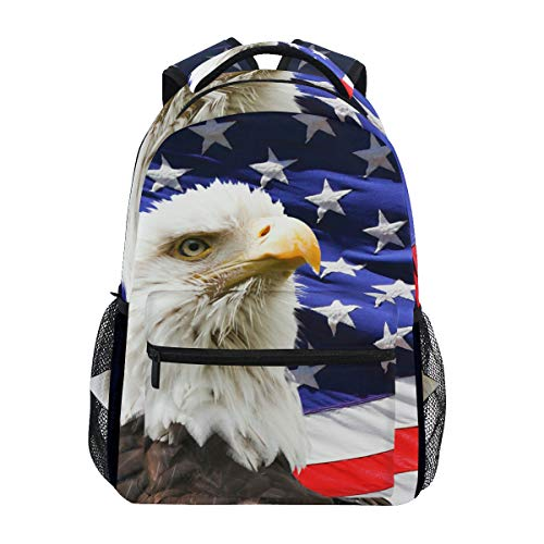 Eagle Spirit American Flag Backpack School Bookbag Travel Shoulder Laptop Bag for Womens Mens -