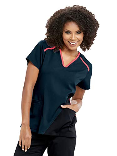 Grey's Anatomy Active GVST021 Women's 3 Pocket V-Neck Contrast Panel and Binding Scrub Top Steel/Black/Spark XS