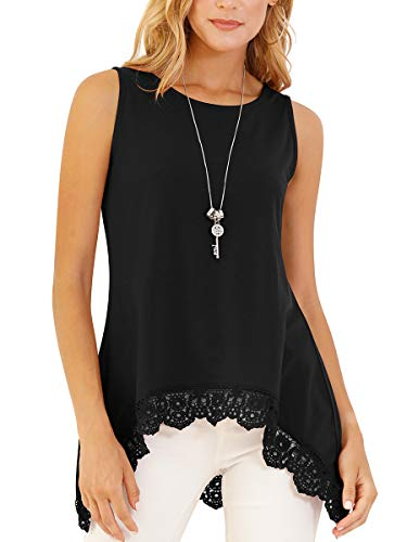 (St. Jubileens Women's Sleeveless Lace Trim O-Neck A-Line Tunics T Shirts Blouses Tops XL Black)