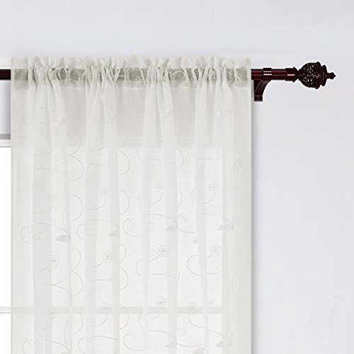 Deconovo Sheer Floral Embroidered Curtains Faux Linen Curtains Rod Pocket Curtains for Bedroom 52 x 95 Inch Beige Set of (Floral Embroidered Curtain)