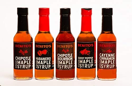 (Benito's Chile Pepper Infused Vermont Maple Syrup Five 5 oz bottles)