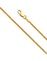 14k Yellow and White Gold SOLID 1.3mm Polished Round Wheat Chain Necklace