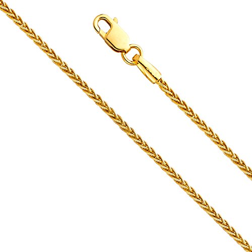 TWJC 14k Yellow Gold SOLID 1mm Braided Wheat Chain Necklace with Lobster Claw Clasp - 16