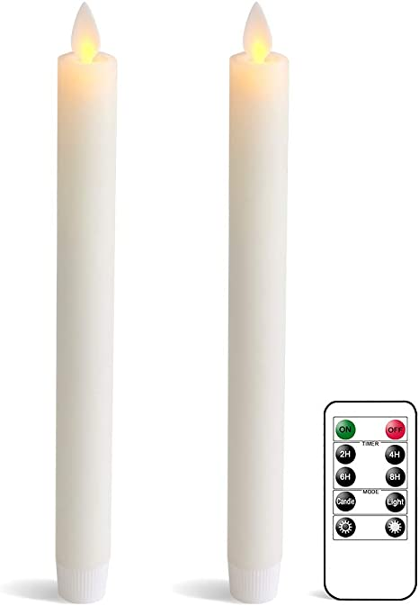 Eldnacele 3D Wick Taper Candles Flameless Flickering Flame Gold Warm White Battery Operated Window Candles with Timer Set of 6