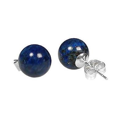 Trustmark 14K White Gold 10mm Natural Blue Lapis Lazuli Ball Stud Post Earrings