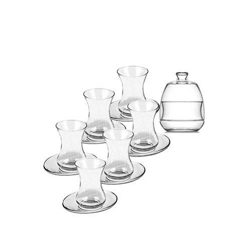 Juego de te turco de 13 piezas con vasos de te de cristal y platos de alta calidad, oriental, para el cafe, el bar, el club, 6 vasos de te, 6 platos, 1 azucarero