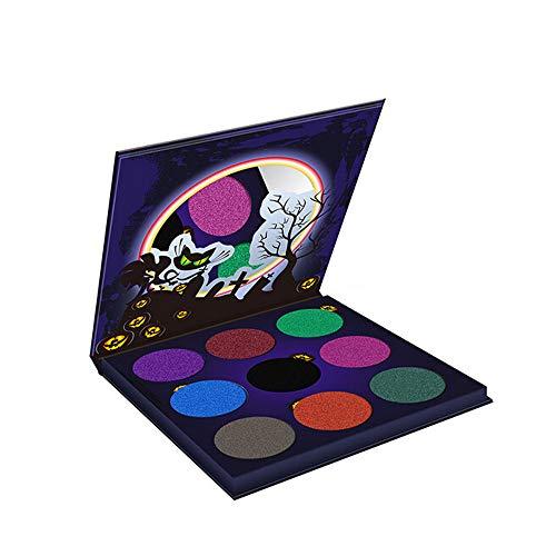 Halloween Bat Eyeshadow (JPOQW 9 Color Halloween Eyeshadow High Pearlescent Diamond Pumpkin Head Body Color Palette with)