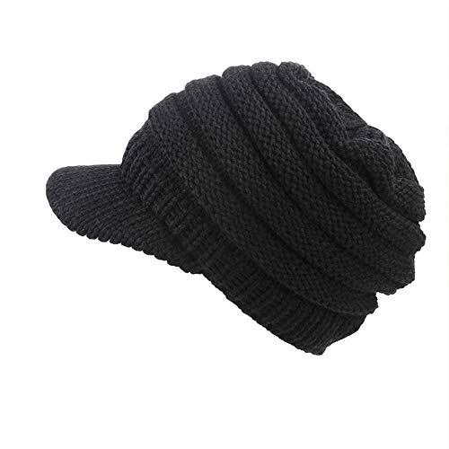 ZOMUSAR Women Soft Stretch Newsboy Cap Winter Hat Visor Beret Cold Weather Knitted (Black)