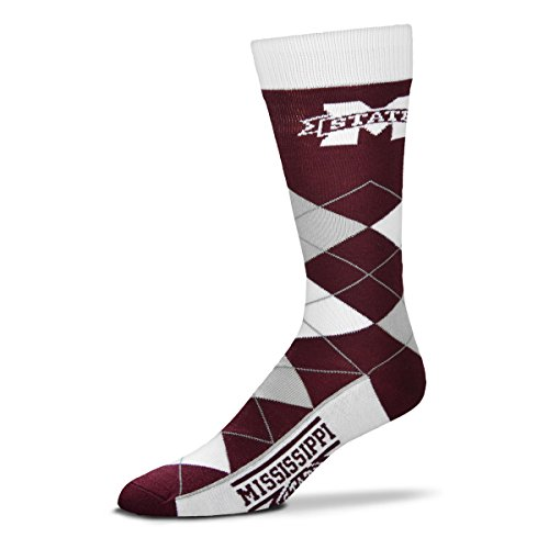 Mississippi State Bulldogs Rubber - For Bare Feet NCAA Argyle Lineup Unisex Crew Dress Socks-One Size Fits Most-Mississippi State Bulldogs