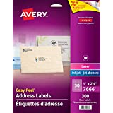 "Avery Clear Address Labels with Easy Peel for Laser and Inkjet Printers, 1"" x 2-5/8"", Glossy Clear, Rectangle, 300 Labels, Permanent (7666) Made in Canada"