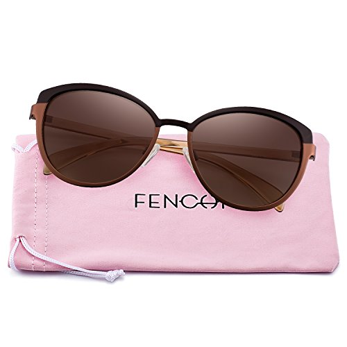 New Classic Sunglasses for Women Round Metal Brand Designer Mirror Cat Eye Driving 4389 (brown gradient/crystal ()