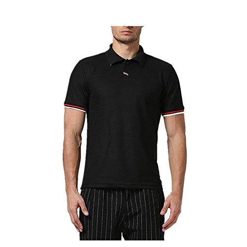 Corta Xx Camisa Hombre Algodón Casuales Polo large Negro Fuweiencore Deportiva Tamaño Camisetas Delgadas Tops Negro De color Para Manga aXz0dxwq