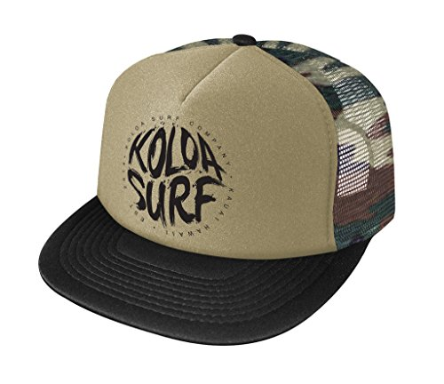 - Joe's USA Koloa Surf Brush Logo High Profile Poly-Foam Trucker Hat-CamoBlack/b