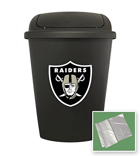 Wastebasket Raiders - 7.5 Gallon - Black Trash Can Waste Basket (Raiders)