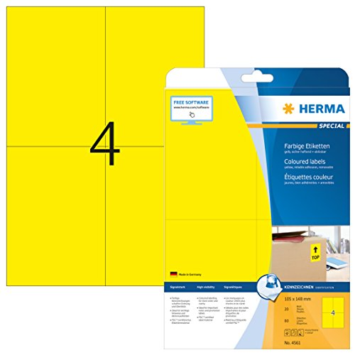 Herma 4561 Colour Removable Labels 105 x 148 mm Matt Paper Self-Adhesive A4 80 Pieces on Printable 20 Sheets Yellow