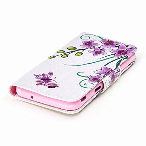 Yiizy Samsung Galaxy J3 (2017) Custodia Cover, Fiori Viola Design Sottile Flip Portafoglio PU Pelle Cuoio Copertura Shell Case Slot Schede Cavalletto Stile Libro Bumper Protettivo Borsa
