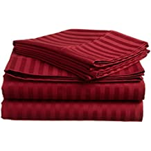 600-Thread Count American Home Bed 1-Piece Fitted/Bottom Sheet with 22'' Deep Pocket Burgundy Striped California King Size 100% Egyptian Cotton Made by SRP LINEN