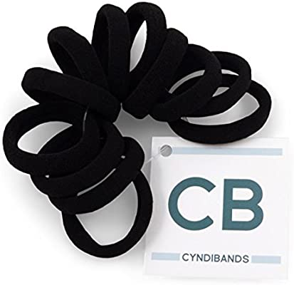 Amazon.com   Cyndibands Gentle Hold Soft and Stretchy Seamless Elastic  Fabric No-Metal Ponytail Holders - 12 Hair Ties (Black)   Beauty bd2f1da8402
