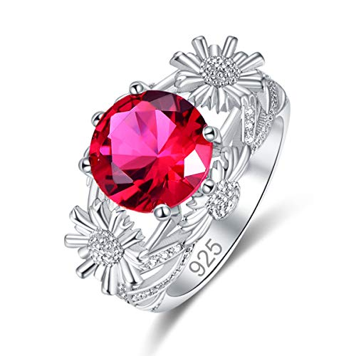 Veunora 925 Sterling Silver Plated Lab-Created Ruby Spinel Sun Flower Promise Proposal Engagement Wedding Rings for Women Girl Size -