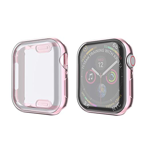 amBand Compatible for Apple Watch Series 4 Screen Protector 40mm, Full Cover TPU Case Bumper Compatible for iWatch Series 4 Rose Gold