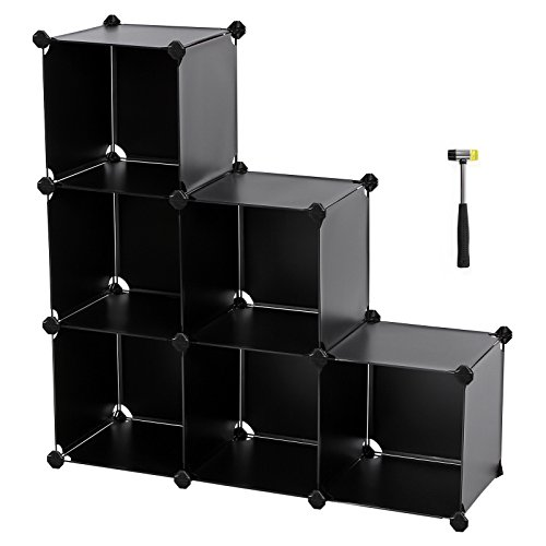 6 Shelf Cabinet (SONGMICS Storage Cube Organizer DIY Plastic Closet Shelf with Rubber Hammer 6-Cube Bookcase Cabinet Black ULPC06H)