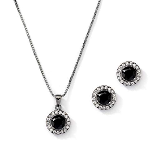 - Mariell 10.5mm Black Cubic Zirconia Round Halo Necklace & Earrings Wedding Jewelry Set for Prom & Wedding