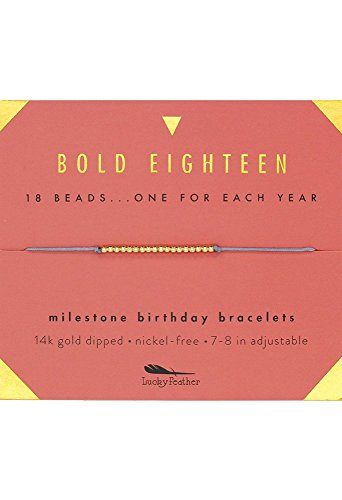 "Lucky Feather Milestone 18th Birthday Gifts for Girls - 14K Gold Dipped Beads Bracelet on Adjustable 7""- 8"" Cord - Bold 18 Year Old Girl Gifts ()"