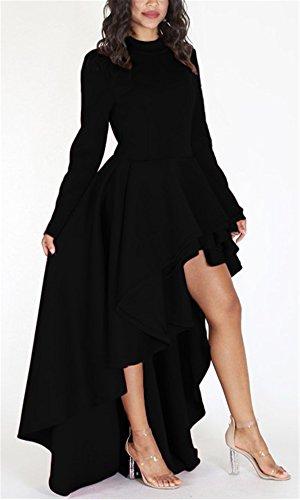 Women's Casual Long Sleeve Tunic Tops Irregular Tees Basic Shirt High Low Cocktail Party Club Dress Oversized Black XXL
