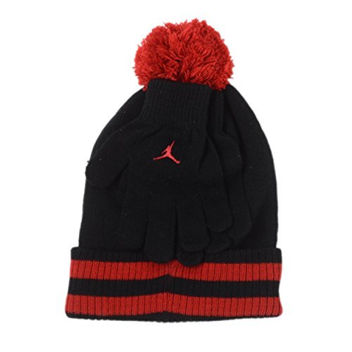 - Jordan Big Boys' Cuffed Pom Beanie Set (8/20, Black/Gym Red)