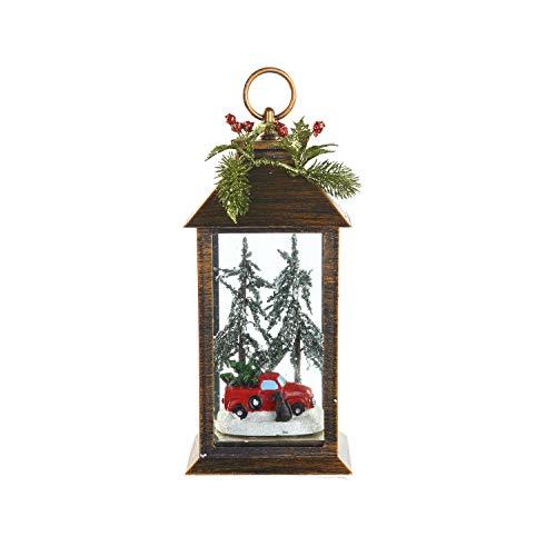 CEDAR HOME Decorative Garden Lantern Outdoor LED Light Vintage Style Yard Patio Plastic Lamp, Country Truck & Dog