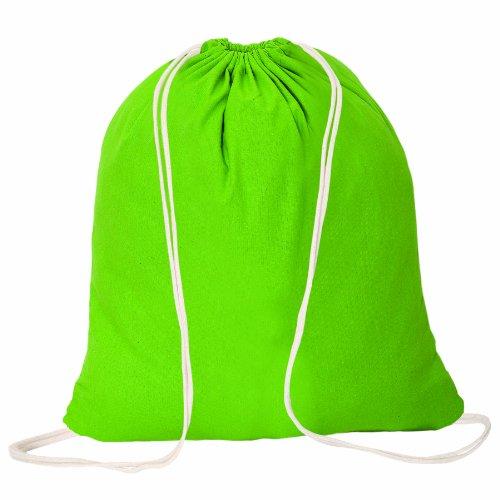 コットン巾着バックパックスポーツバッグ耐久性&スタイリッシュな、ライムグリーンバッグfor Less