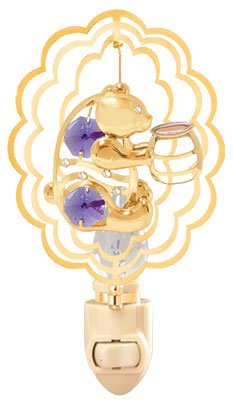 (Bear Holding A Honey Jar inside a Scalloped Oval in 24K Gold Plated Night Light..... With Purple Color Swarovski Austrian Crystals)