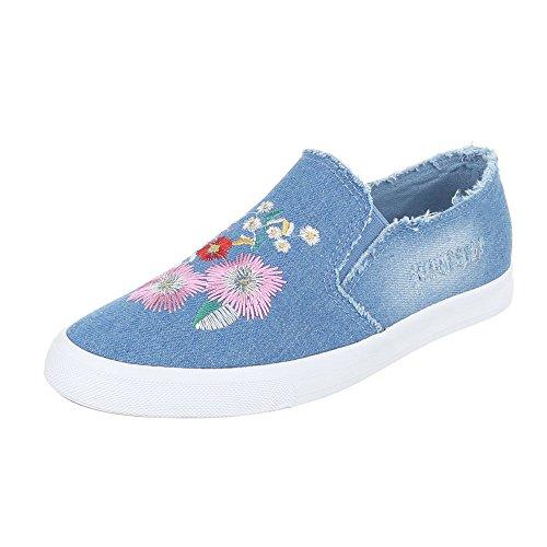 Ital-Design Sneakers Low Damenschuhe Schnürsenkel Freizeitschuhe Blau 6703-Y