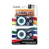 Label Printer Tape For CWL-300 - 9mm Tape, Black-On-Clear, 2 Pack (XR9-X2S) -